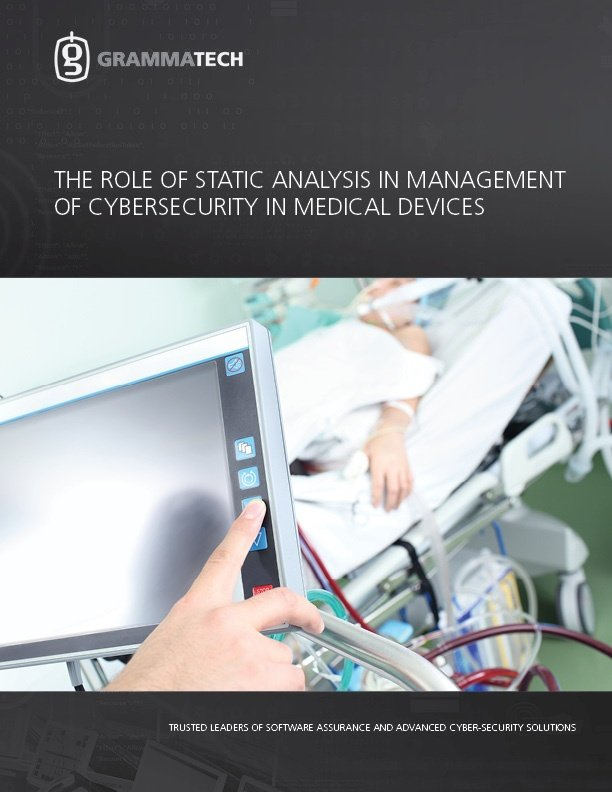 The Role of Static Analysis in Management of Cybersecurity in Medical Devices
