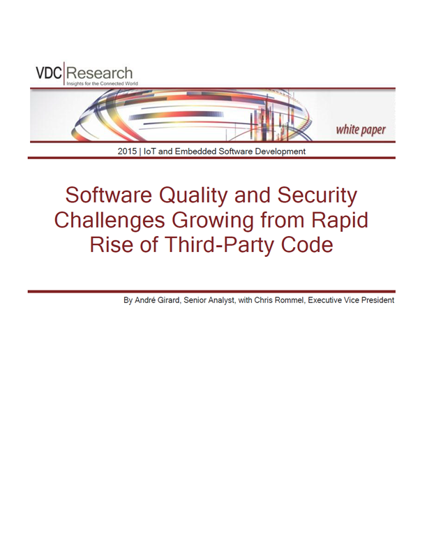 Software Quality and Security Challenges Growing from Rapid Rise of Third-Party Code - VDC Whitepaper
